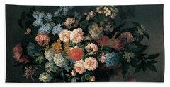 Still Life With Basket Of Flowers Beach Sheet by Jean-Baptiste Monnoyer