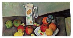 Still Life With Milkjug And Fruit Beach Towel by Paul Cezanne