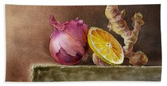 Still Life With Onion Lemon And Ginger Beach Towel by Irina Sztukowski