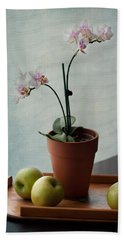 Still Life With Orchids And Green Apples Beach Sheet by Maggie Terlecki