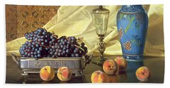Still Life With Peaches Beach Sheet by Edward Chalmers Leavitt
