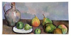 Still Life With Pitcher And Fruit Beach Sheet by Paul Cezanne