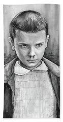 Stranger Things Fan Art Eleven Beach Sheet by Olga Shvartsur