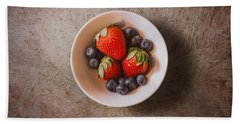 Strawberries And Blueberries Beach Towel by Scott Norris