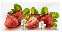 Strawberries Beach Towel by Veronica Minozzi