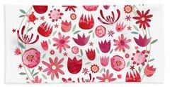 Summer Flower Circle Beach Towel by Nic Squirrell