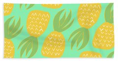 Summer Pineapples Beach Towel by Allyson Johnson