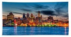 Sunset Over Philadelphia Beach Towel by Louis Dallara