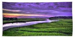 Sunset Over Turners Creek Savannah Tybee Island Ga Beach Sheet by Reid Callaway