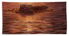 Sunset Snuggle - Sea Otters Floating With Kelp At Dusk Beach Towel by Karen Whitworth