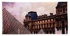 Surreal Louvre Museum Pyramid Watercolor Paintings - Paris Louvre Museum Art Beach Towel by Kathy Fornal