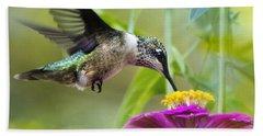 Sweet Success Hummingbird Square Beach Towel by Christina Rollo