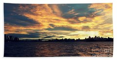 Sydney Harbour At Sunset Beach Towel by Leanne Seymour