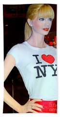 Taylor In Times Square Beach Towel by Ed Weidman
