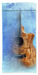 Taylor Inspirational Quote, Acoustic Guitar Original Abstract Art Beach Towel by Pablo Franchi