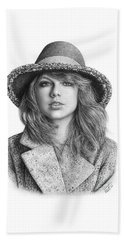 Taylor Swift Portrait Drawing Beach Towel by Shierly Lin