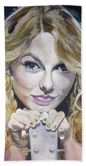Taylor Swift Portrait Beach Sheet by Zalika Ledeatte- Williams