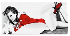 Taylor Swift Red 01a Beach Towel by Brian Reaves