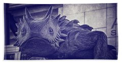 Tcu Horned Frog Purple Beach Towel by Joan Carroll