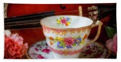 Tea Cup And Violin Beach Towel by Garry Gay