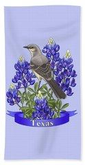 Texas State Mockingbird And Bluebonnet Flower Beach Towel by Crista Forest