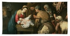 The Adoration Of The Shepherds Beach Sheet by Bartolome Esteban Murillo