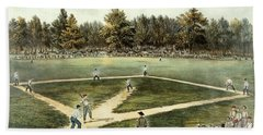 The American National Game Of Baseball Grand Match At Elysian Fields Beach Sheet by Currier and Ives