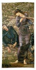 The Beguiling Of Merlin Beach Sheet by Sir Edward Burne-Jones