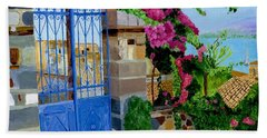 Beach Towel featuring the painting The Blue Gate  by Rodney Campbell