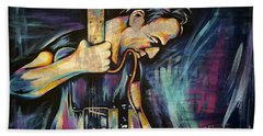 The Boss Bruce Springsteen Beach Towel by Amy Belonio