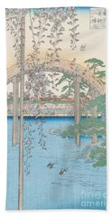 The Bridge With Wisteria Beach Towel by Hiroshige