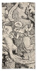 The Children Climbed The Christmas Tree With Animals And All Beach Sheet by Walter Crane