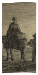 The Departure For Work Beach Sheet by Jean-Francois Millet