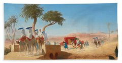 The Empress Eugenie Visiting The Pyramids Beach Sheet by Charles Theodore Frere