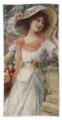 The Flower Girl Beach Sheet by Emile Vernon