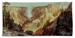 The Grand Canyon Of The Yellowstone Beach Sheet by Thomas Moran