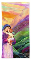 Virgin Mary And Baby Jesus, The Greatest Gift Beach Sheet by Jane Small