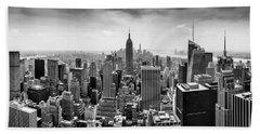 New York City Skyline Bw Beach Towel by Az Jackson