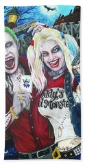 The Joker And Harley Quinn Beach Towel by Michael Vanderhoof