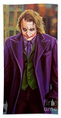 The Joker In Batman  Beach Towel by Paul Meijering