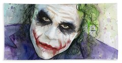 The Joker Watercolor Beach Towel by Olga Shvartsur