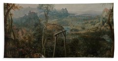 The Magpie On The Gallows Beach Towel by Pieter Bruegel the Elder