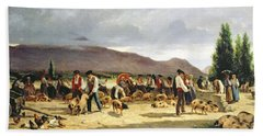 The Pig Market Beach Towel by Pierre Edmond Alexandre Hedouin