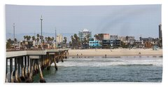 The South View Venice Beach Pier Beach Sheet by Ana V Ramirez