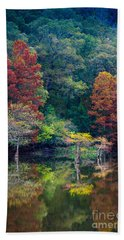 The Stillness Of The River Beach Towel by Inge Johnsson