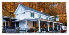 The Valley Green Inn In Autumn Beach Sheet by Bill Cannon