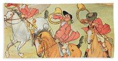 Three Jovial Huntsmen Beach Sheet by Randolph Caldecott