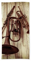 Three Old Horns Beach Towel by Garry Gay