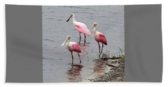 Three Roseate Spoonbills Square Beach Towel by Carol Groenen