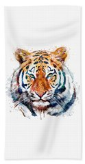 Tiger Head Watercolor Beach Towel by Marian Voicu
